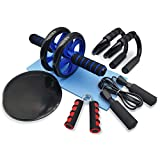Euyecety AB Roller Addominali Ruota Addominali Set - AB Wheel Roller, 2 Maniglie per Flessioni, Pinza Mano, Corda per Saltare, Tappetino Fitness, Fitness Workout Set Core Exercise per Uomo/Donna