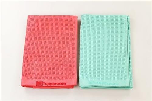 TUPPERWARE FaserPro Glas türkis Glastuch Mikrofasertuch + FaserPro rot P 22566