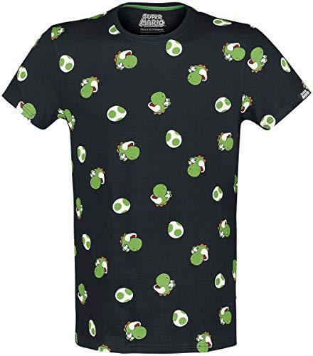 Super Mario Yoshi - Heads Hombre Camiseta Negro L, 100% algodón, Regular