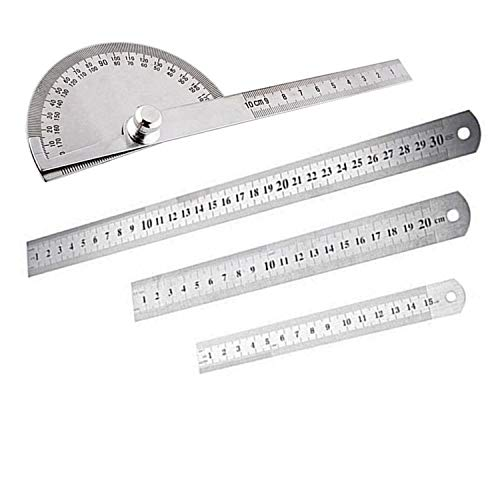 PPX 4 Piezas Regla de Acero Inoxidable Metálico 15/20/30cm Doble Regla lateral Doble...