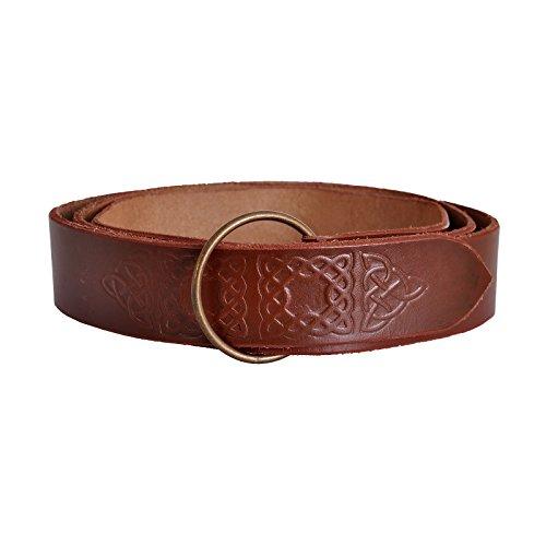 Cinturón medieval de hombre cuero genuino marrón 4cm - 150 cm