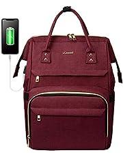 Zaino Laptop Donna, LOVEVOOK Impermeabile Zaino porta PC 15.6 Pollici, Zaino per Computer con Caricatore USB, Zaino Universita per Viaggi Lavoro Scuola Ufficio, Vino Rosso
