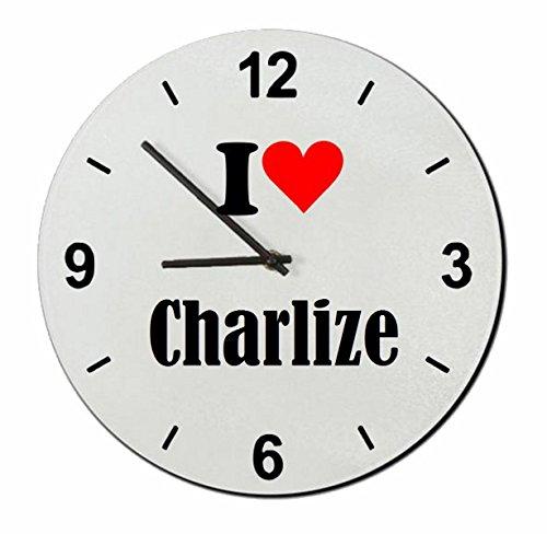 Druckerlebnis24 Glasuhr I Love Charlize eine tolle Geschenkidee die von Herzen kommt| Wanduhr| Geschenktipp: Weihnachten Jahrestag Geburtstag Lieblingsmensch