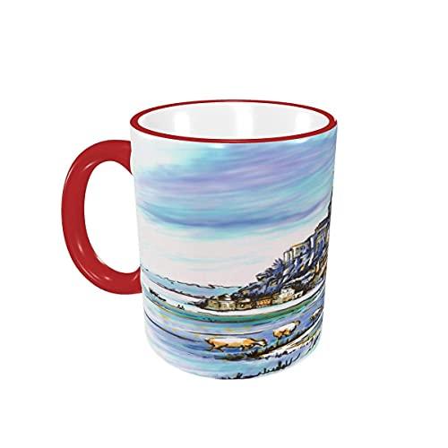 Taza de café France Mont Saint-Michel Sheep Tazas de café Tazas de cerámica con Asas para Bebidas Calientes - Cappuccino, Latte, Tea, Coffee Gifts 12 oz Red