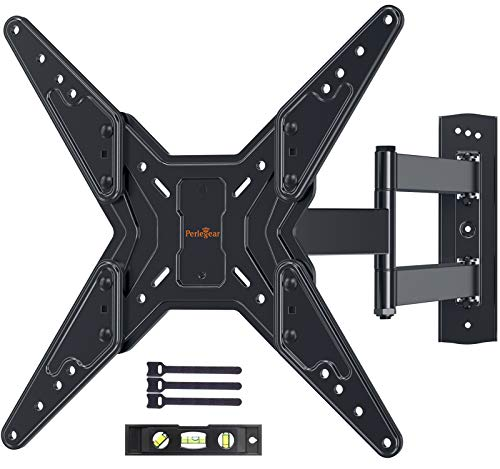 Full Motion TV Wall Mount for Most 23-55 Inch LED LCD Flat & Curved TVs with Swivels, Articulating, Tilt & Extends, Wall Mount TV Bracket fit Max VESA 400x400mm up to 88lbs by Perlegear