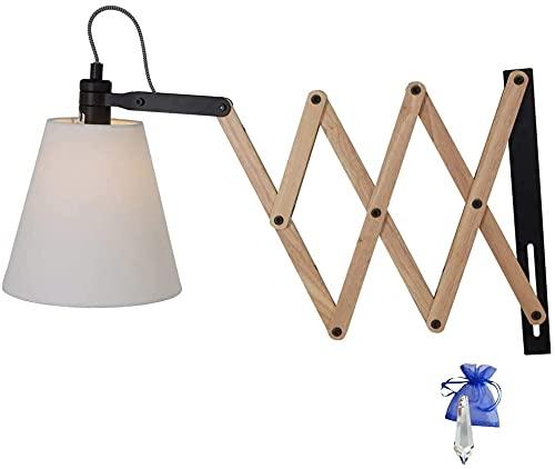Lámpara de tijera con bisagra, aplique de pared, estilo madera, E14, lámpara de pared extensible para LED y bombilla 8852BE + cristal Giveaway