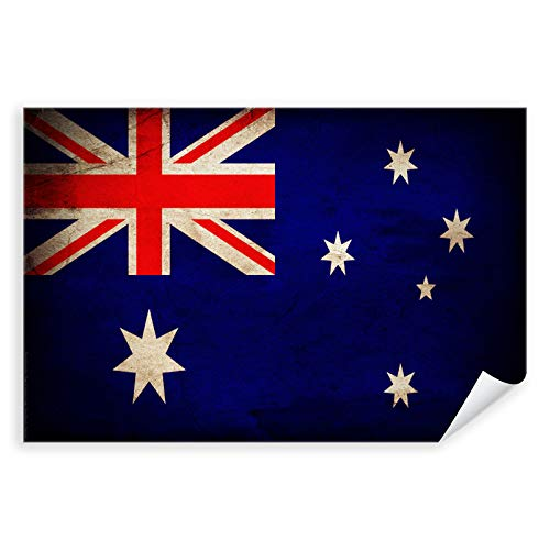 Postereck - 0376 - Vintage Flagge, Fahne Australien Canberra - Unterricht Klassenzimmer Schule Wandposter Fotoposter Bilder Wandbild Wandbilder - Leinwand - 100,0 cm x 75,0 cm