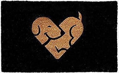 Designer Welcome Natural Coir Non Slip Doormat for Patio, Front Door, All Weather Exterior Doors 18 X 30 Inch Animal Dog in Heart Shape