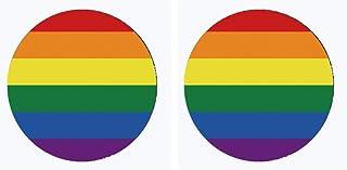 Generic 2 Piezas Etiqueta Engomada Del Arco Del Orgullo LGBT Etiqueta Engomada Redonda Del Coche Bandera Del Arco para Aut...