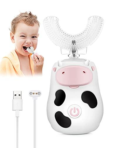 Brosse à dents électrique pour enfants - Brosses à dents automatiques à ultrasons avec 2 modes intelligents - Nettoyage à 360° - En forme de U - Étanche IPX7 - Pour enfants de 1 à 6 ans