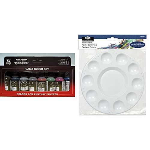 Vallejo AV Washes Set - 8 x 17ml & Royal & Langnickel R2000194 Palette, White, One