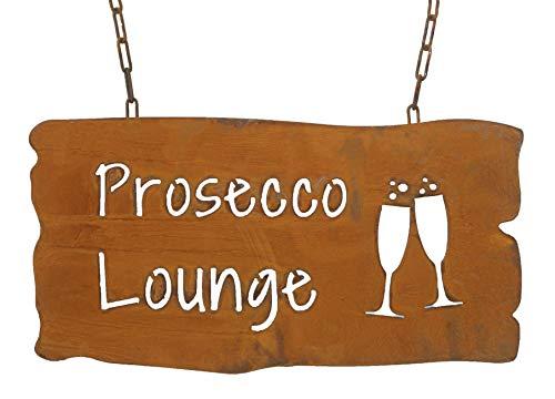 Bornhöft Schild Spruchtafel rostiges Gartenschild Edelrost Rost zum hängen Gartendeko (Prosecco Lounge)