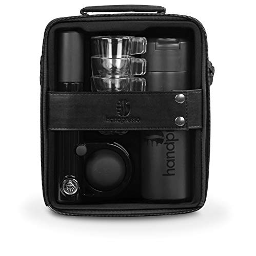 Handpresso Pump Set Black 48241 Full set with the portable and manual espresso machine for ESE pods or ground coffee