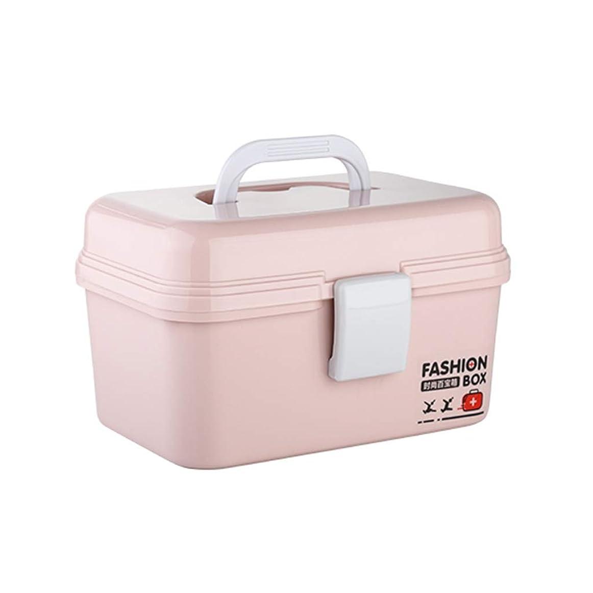 手当系譜光電XJLXX 多層医療収納ボックス、家庭用大容量薬救急箱、ポータブル医療収納ボックス 医療箱 (Color : Pink)