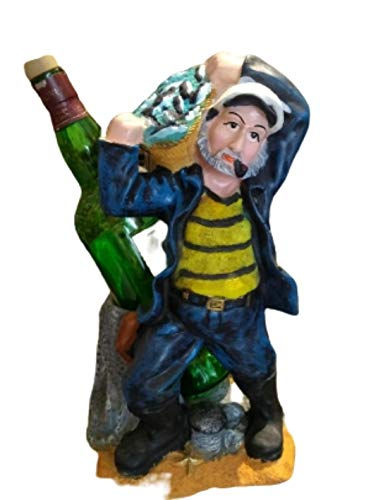 Artesanía con amor a un hermoso marinero hecho a mano artículos de decoración del hogar titular de botella de vino + soporte de cristal decorativo hecho a mano para bar decoración marinero capitán
