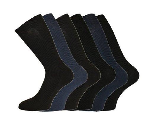 i-Smalls Herren Aler 6er Pack Baumwolle Lockerer Handgriff Business Socken (Dunkel) 39-45