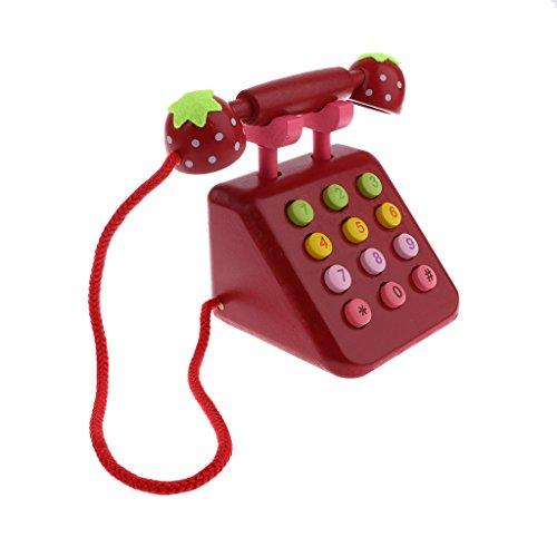 Homyl Kinder Telefon Pädagogisches Spielzeug Kindertelefon Babytelefon für Kinder Ab 3 Jahre - Rot
