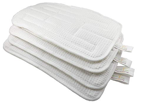 Steam Mop Pads Replacement Pack for Smart Living Steam Mop, Set of 4 Microfiber Washable Cleaning - White, Easy to use by À La Carte Cooking