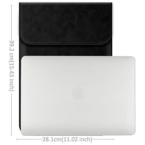 TECOOL 15 Zoll Laptop Hülle Kunstleder, Laptop Schutzhülle Wasserdicht Kratzfest Sleeve Case Tasche für 2012-2019 MacBook Pro 15 (A1990/A1707/A1398), 2019 MacBook Pro 16 A2141 - Dunkles Schwarz