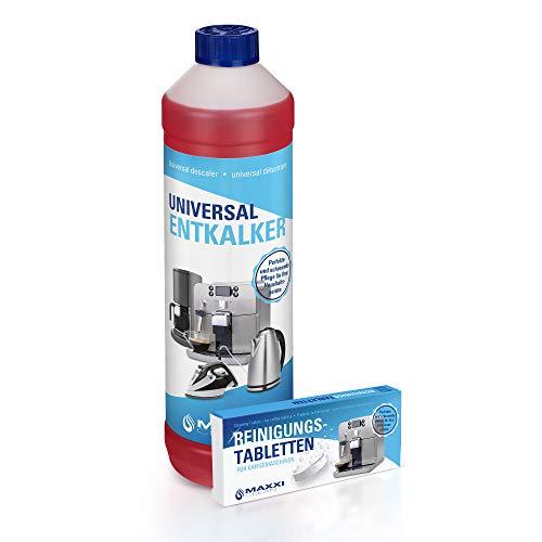MAXXI CLEAN 1 descalcificador líquido de 750 ml + 10 pastillas de limpieza combinadas para cafeteras automáticas, máquinas de café, monodosis de café, descalcificador y limpiador de cal.