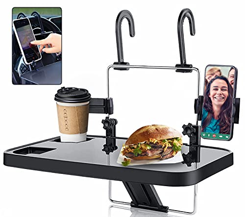YOUTAI Hanging Car Steering Wheel Tray Car Mount Laptop Stand Table, Foldable Car Seat Back Portable Tray for Food Dining Drink and Laptop