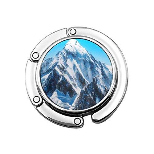 Gancho plegable para bolso de mano, azul Mount Mountain Peak Everest National Park Nepal Range Snow Himalaya