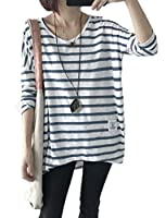 24.AOZUOレディース Tシャツ ロング丈 夏 薄手 vネック tシャツ カットソー ゆる ストライプ 白 ブラウス 長袖 シンプル おしゃれ 大きいサイズライトブルー