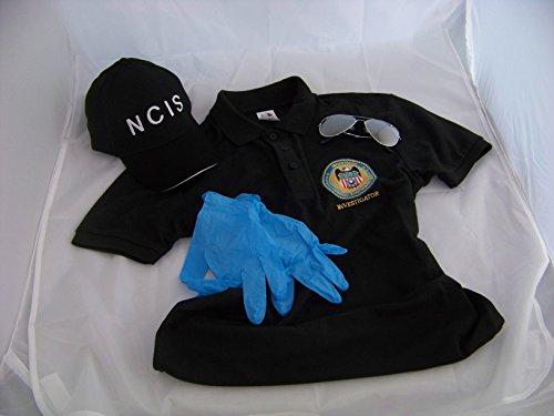NCIS Navy CIS Cap + Logo Polo-Shirt XL + Brille + Handschuhe, Kostüm , Fasching , Verkleidung