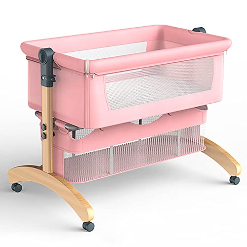 Minicuna Colecho Regulable, Bolsa de Transporte de Viaje, Mosquitera Shade, Cesta de Almacenamiento, Colchón de Espuma de Memoria, Adecuado para bebés de 0 a 24 Meses, Pink