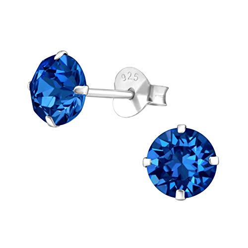 925 Sterling Silver with Crystals from Swarovski round stud earrings 6mm women in various sparkly colours anti allergy hypoallergenic nickel free jewellery ladies sensitive ears gift box (Capri Blue)