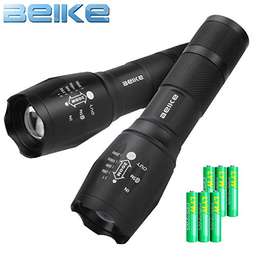 Beike 2 Pack LED Tactical Flashlight (Batteries Included) - 5 Modes, High Lumen, Zoomable, Water Resistant, Handheld light for Camping, Hiking, Outdoor, Emergency