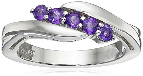 Sterling Silver Genuine African Amethyst Five Stone Bypass Ring, Size 8