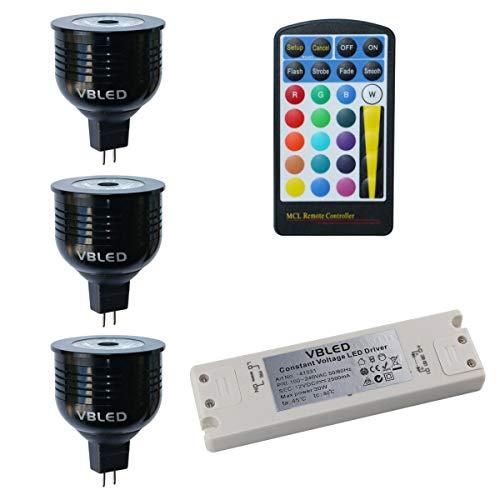 VBLED 7W RGB+W Leuchtmittel/Farbiges Leuchtmittel/LED Birnen, 12V AC/DC, MR16/GU5.3 Fassung Dimmbar (4 Stufen) inkl. Fernbedienung (3 Leuchten + Trafo)