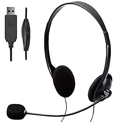 TINGDA USB Computer Headset, Lightweight PC Headset with Microphone Noise Cancelling, Wired Headphones Business Headset for Skype Webinar Cell Phone Call Center, Clear Chat, Ultra Comfort from Tingda