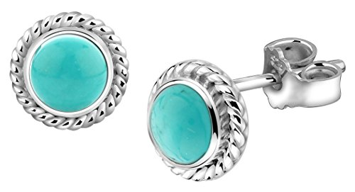 Nenalina 222999-018 Silver Handmade Earrings Set with Real Turquoise Gemstone