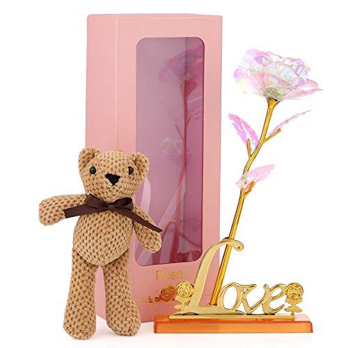 Wodasi Rosa 24K con Soporte Base con Amor, Hoja de Oro 24K Rosa, Flor de Rosas Artificiales de Oro Rosa Plateado de 24K, para Cumpleaños, Navidad, Valentín, etc