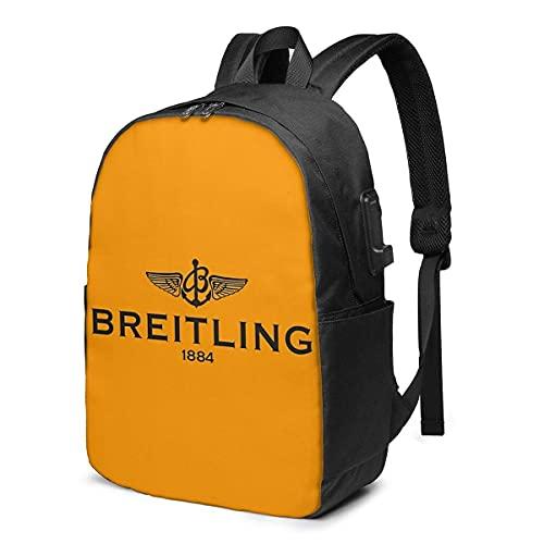 Rononand backpack Zaino Con porta di ricarica USB Zaino per laptop impermeabile casual elegante Borsa da viaggio ultraleggera Breitling Logo