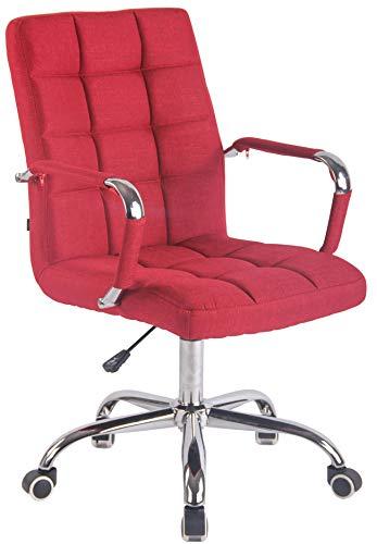 CLP Bürostuhl Deli mit Stoffbezug und hochwertiger Polsterung I Drehstuhl mit höhenverstellbarer Sitzhöhe, Farbe:rot