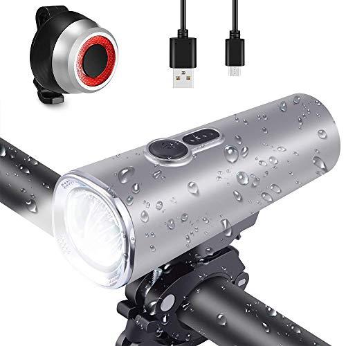 Éclairage de Vélo,Nesting Ultra Lumineux 600 lumens Lampe de Vélo Kit d'éclairage de Vélo USB Rechargeable,Samsung Batterie 2600 mAh,Lumière Avant Imperméable 5 Modes + Arrière 4 Modes