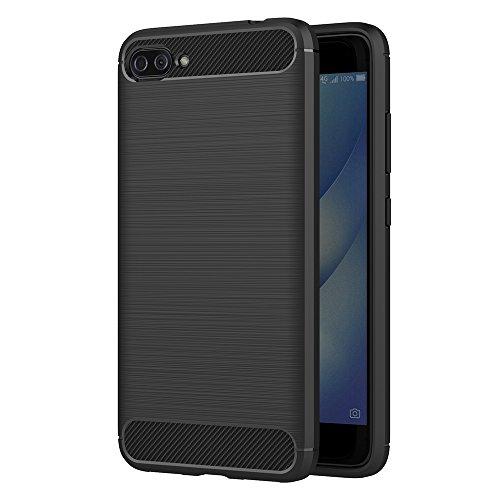 AICEK Funda ASUS Zenfone 4 MAX Plus ZC554KL, Negro Silicona Fundas para Zenfone 4 MAX Plus ZC554KL Carcasa ASUS ZC554KL Fibra de Carbono Funda Case (5,5 Pulgadas)