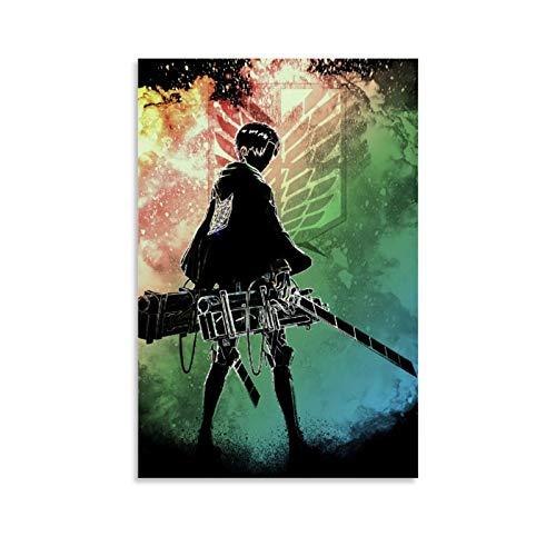 Pster de anime Attack on Titan en lienzo para pared, impresin de ataque sobre lienzo Titn, decoracin moderna para el hogar para dormitorio 50 x 75 cm, sin marco