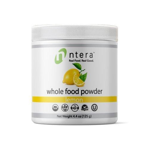 NTERA Lemon Whole Food Powder (USDA Organic, Gluten-Free, Non-GMO, Vegan, Kosher) - Ultra Premium Raw Nutrition (USA, GMP) - 125 Grams (4.4 Ounces)