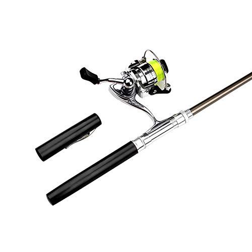 FINIVE 2Pcs/Set Winter Fishing Tool Accessory, Mini Pen Shape Fishing Rod, Rotating Fishing Spinning Reels for Sea Fishing - Black