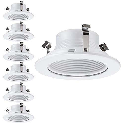 6 Pack 4 Inch Recessed Can Light Trim with White Metal Step Baffle, for 4 Inch Recessed Can, Fit Halo/Juno Remodel Recessed Housing, Line Voltage Available