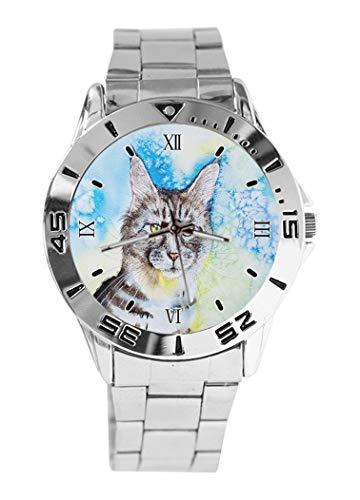 Analoge Armbanduhr mit Muschi-Katzen-Aquarell-Design, Quarz, silberfarbenes Zifferblatt, klassisches Edelstahl-Band für Damen und Herren