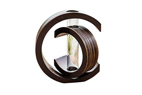 thai4living Vase Holzvase Designvase Holz Deko Dekoration Dekovase Tischvase Mangoholz Braun C-Form, Groß, 25x6,5x22cm