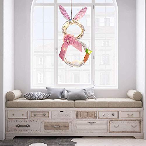 JoyTplay Ghirlanda pasquale decorazione esterna con coniglietto glitterato, ghirlanda da appendere, realizzata a mano, per porta d'ingresso, decorazione pasquale interna (rosa)