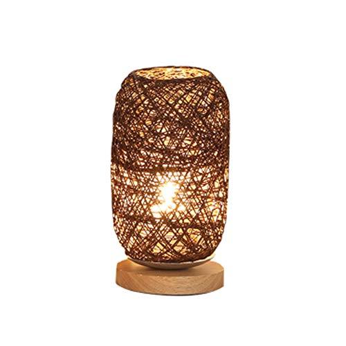 Set van 2 houten rotan lichtbollen, houten rotan bureaulamp, ideaal voor het instellen van nachtkastjes, ruimtebesparend, energiebesparend, milieuvriendelijk