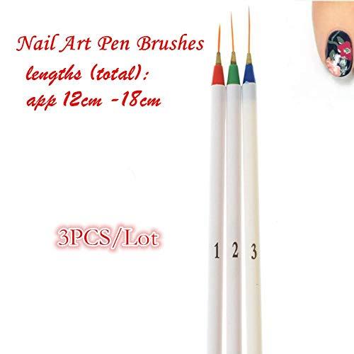 Set 3 Pcs/Pack Fine Drawing Striping Liner Design Tips Nail Art Pen Brushes Brush Salon DIY Gel