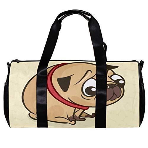Bolsa de deporte redonda para gimnasio con correa de hombro desmontable Sad Pug Training Bag para mujeres y hombres